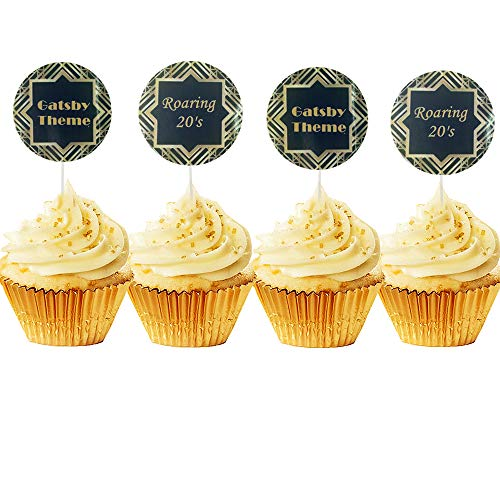 JeVenis Set of 20 Great Gatsby Art Deco Cupcake Topper Art Deco cupcake topper 1920 cupcake topper 20's cupcake topper for Gatsby Theme Party Birthday Party Decoration Supplies]()