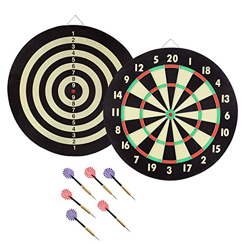 Hey! Play! 15-2004 Trademark Global Game Room Dartboard Set with 6 Darts (Board Games Set)