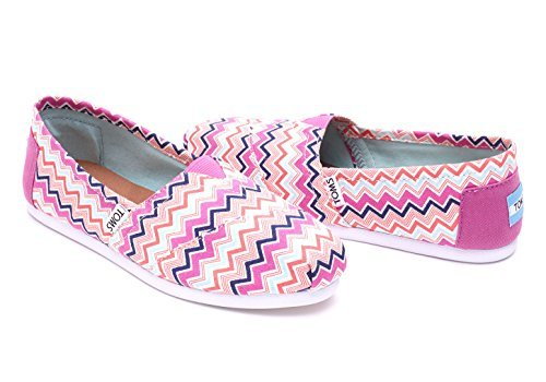 TOMS Women's Seasonal Classics Pink Canvas Chevron Loafer