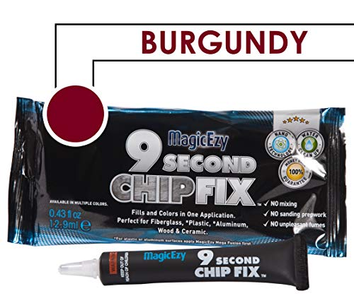 - MagicEzy 9 Second Chip Fix (Burgundy) - One part Gelcoat Repair Kit Fixes & Colors Chips, Scrapes & Drill Holes Fast - Structural Grade Adhesion Guaranteed