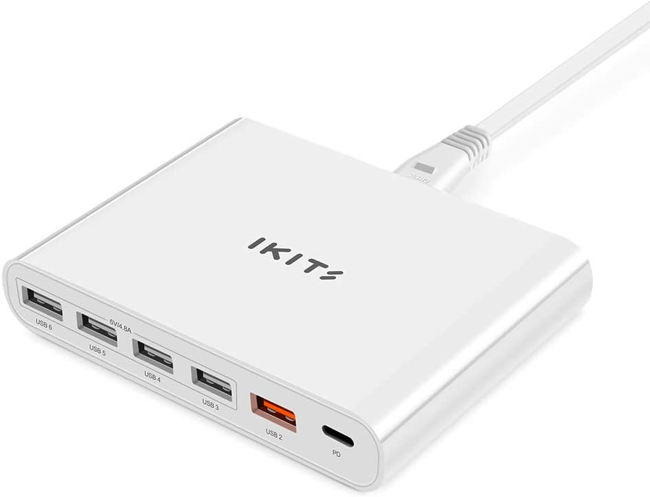 IKITS ETL Certified Multiple Phone Charger Station USB Type C PD 3.0 60W USB Charger Fast Charging with Smart IC Multi-Port USB Charging Station for Mac Book,Samsung,iPhone,Moto,Switch,TV Stick