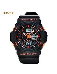 Baiyu Dual Time Display 50m Waterproof Luminous Sports Military Wrist Watch Cool S-shock Fashion Men stopwatch Multi-Function Sports Watch LED Analog Digital-Orange