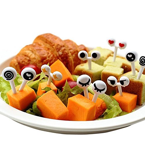 MINILUJIA Children Bento Picks Fruit Forks Bento Decoration Box Halloween Gift Cat Cake Forks Eyes Food Picks Flatware Pack of 16