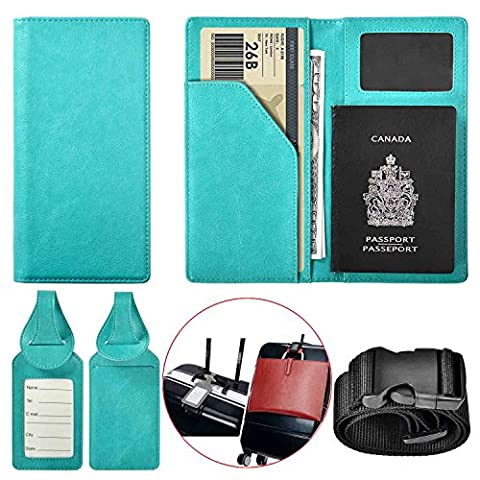 XeYOU Travel Wallet & Passport Holder Soft Leather Passport Cover Case with 2 Matching Luggage Tags and Luggage Strap (Blackberry Passport Clip)
