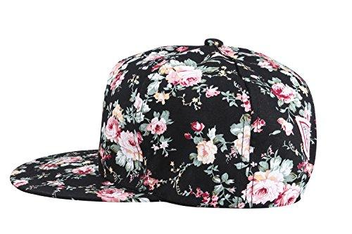 dee07018d62 Yonala Fashion Floral Snapback Hip Hop Hat Flat Peaked Baseball Cap for  Four Seasons