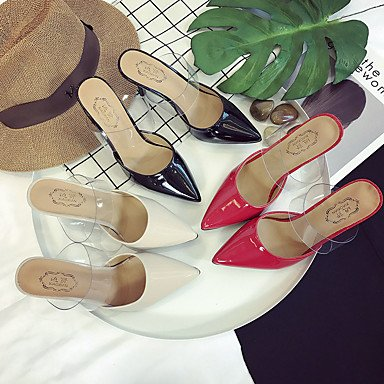 LvYuan Mujer Sandalias Confort PU Verano Confort Tacón Stiletto Negro Beige Rojo 12 cms y Más beige