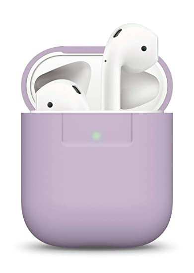 best service 3b0c0 7e861 elago AirPods Silicone Case [Lavender] - [Compatible with Apple AirPods 1 &  2; Front LED Visible][Supports Wireless Charging][Extra Protection] for ...