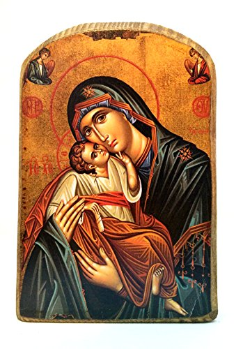 (Wooden Greek Christian Orthodox Wood Icon of Mother of Jesus & Jesus Christ/mp2)