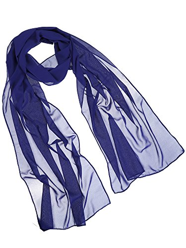 Blue Chiffon - WILLBOND Womens Chiffon Bridal Evening Soft Wrap Scarf Shawl, Chiffon Scarf Ribbon Scarf for Women and Girls (Royal Blue)