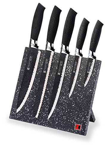 - Imperial Collection IM-MGN5-W Stainless Steel Knife Set with Magnetic Knife Block Featuring Embossed Blades with Non-Stick Coating, Ergonomic Soft Grip (6-Piece Set of Knives, Black Handles)