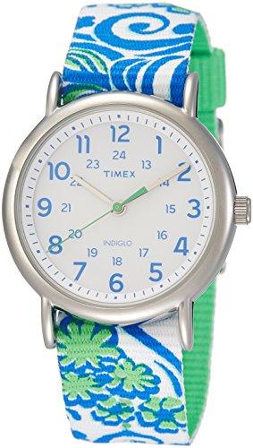 Timex Originals TW2P90300 Ladies Weekender Slip-thru Full Size Green Nylon Strap Watch