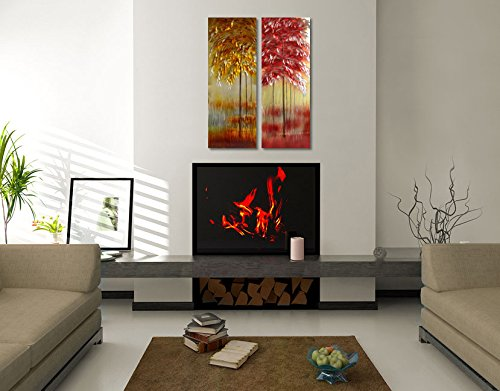 """Winpeak Bog Life Excellent Gold Metal Aluminum Wall Art Abstract Colorful Tree Painting Original in-out door – Modern Contemporary Sculpture – Decorative Artwork set of 2 panels 32""""x32"""" For Sale"""