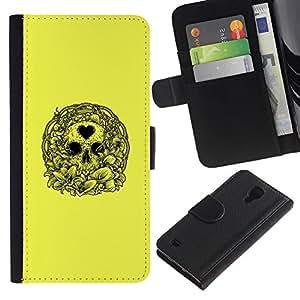 KingStore / Leather Etui en cuir / Samsung Galaxy S4 IV I9500 / Amor amarillo del corazón del cráneo de la guirnalda de la Muerte