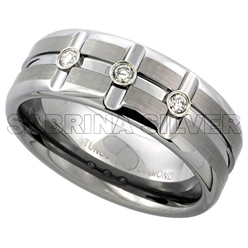 8mm Tungsten 3 Stone Diamond Wedding Ring Horizontal & Vertical Grooves Satined Comfort fit, size (Diamond Mens Fashion Band)