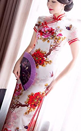 Confortables Femmes Soie Longue Cheongsam Rétro Premium Imprimé Fleur Robe Chinoise Comme Image