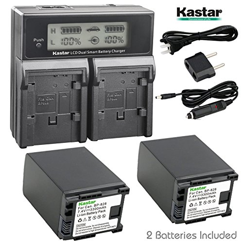 Kastar LCD Dual Fast Charger & 2 x Battery for Canon BP-828