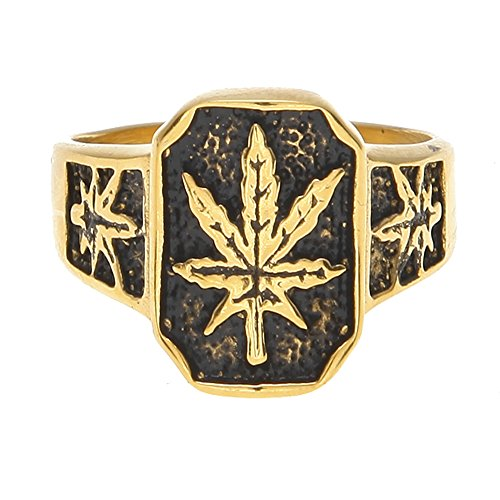 HongBoom Hot Hip Hop Rings 18K Gold Plated CZ CRYSTAL Fully Iced-Out CUBAN Marijuana leaf Ring (10)