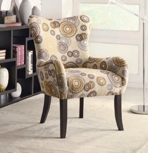 Ultra Modern Style Accent Chair With Nailhead Trimming Circles Pattern Tan Fabric In Cappuccino Finish. (Item# Vista Furniture CF902052)