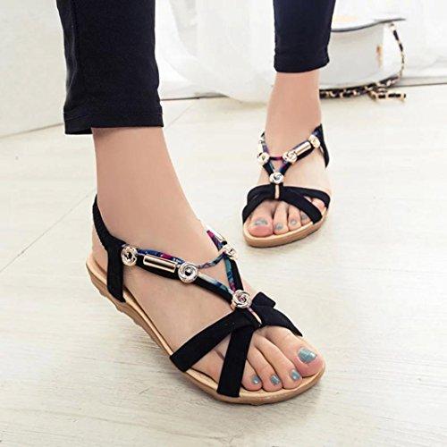Jamicy Women Girls Fashion Summer Roman Bohemia Sandals Shoes Peep-toe Low Shoes Flip Flops Black Mfplz