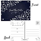 50 Floral Theme Save The Date Postcards - 4'' x 6'' Postcards - Wedding, Baby Shower, Birthdays, Celebration Announcements (White Floral)