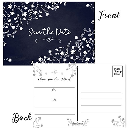 50 Floral Theme Save The Date Postcards - 4