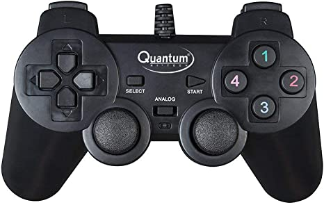 Quantum QHM7468 USB Gamepad with Dual Vibration  Black  Joysticks