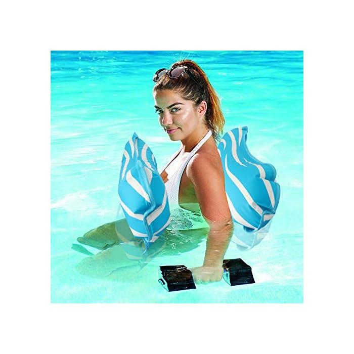 """51NiB7hM9EL 【FÁCIL DE ALMACENAR Y LLEVAR】 La hamaca de agua es plegable y compacta, puede inflar y desinflar la hamaca de agua de manera rápida y sencilla. Simplemente enróllelo para guardarlo fácilmente o tírelo cuando sea necesario. Puede llevarlo a un viaje. 【ÚNICO 4-en-1 Y GRAN CAPACIDAD DE CARGA】 Sistema inflable flotante 4-en-1 con dimensiones 52 """"x 26.8"""" (132cm x 68cm) Se convierte en hamaca, sillón, Drifter y sillín de ejercicios. Simultáneamente no tiene necesidad de preocuparse por el límite de peso, manejará hasta 250 libras aunque sea liviano. 【COMODO Y SIN DAÑOS】 Esta hamaca inflable tiene un diseño ergonómico y está cubierta con tela laminada de PVC, brinda mucho apoyo y abundancia de confort. No tienen olor y no son tóxicos, son seguros y no dañan su salud. Puede disfrutar del tiempo de padres e hijos con sus hijos en la piscina, se recomienda que los niños vayan acompañados de adultos."""