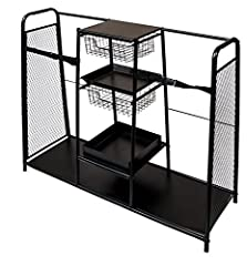 This Dual Bag Organizer Rack with Five Shelves enables you to start your golf game in a Zen state of mind, unrattled by fetching equipment from every corner of your house and car. With customized space for 2 bags plus shoes, shirts, balls, te...