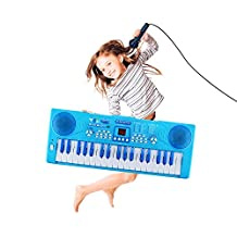 Kids Piano, Sanmersen 37 Key Multi-function Electronic Keyboard Piano Play Piano Organ with Microphone Educational Toy for Toddlers Kids Children(Blue)