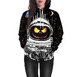 HHei_K Couple Halloween Fashion Terror Nausea Long Sleeve Pumpkin Grimace 3D Print Pullover Top Hooded Sweatshirt