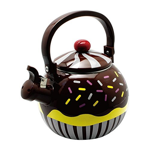 Enamel Cupcake - Gourmet Art Chocolate Cupcake Enamel-on-Steel Whistling Kettle