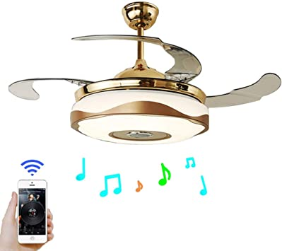 "42/"" Bluetooth Music LED Stealth Ceiling Fan Lamp Chandelier Mobile RemoteControl"