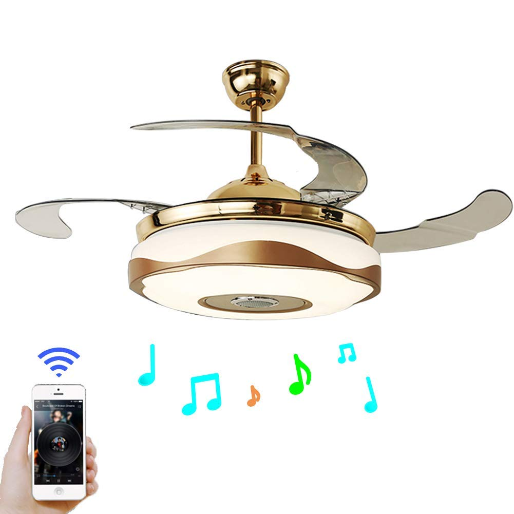 . 42   Modern Fan Chandelier with Bluetooth Remote Control Music Player  Stealth Ceiling Fan Light Suitable for Dining Room  Living Room  Bedroom   Gold