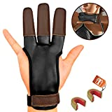 KESHES Archery Glove Finger Tab Accessories - Leather Gloves for Recurve & Compound Bow - Three Finger Guard for Men Women & Youth (Large(3.14'-3.54'))
