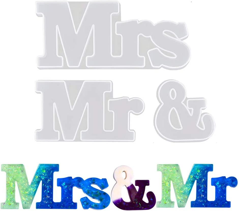 Letters Resin Molds, Alphabet Mr & Mrs Silicone Mould, DIY Epoxy Molds to Indoor/Home Decor, Home Sign/Wall Art/Wall Hanging