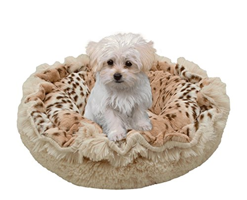BESSIE AND BARNIE Ultra Plush Aspen Snow Leopard/Blondie Shag Deluxe Dog/Pet Lily Pod Bed