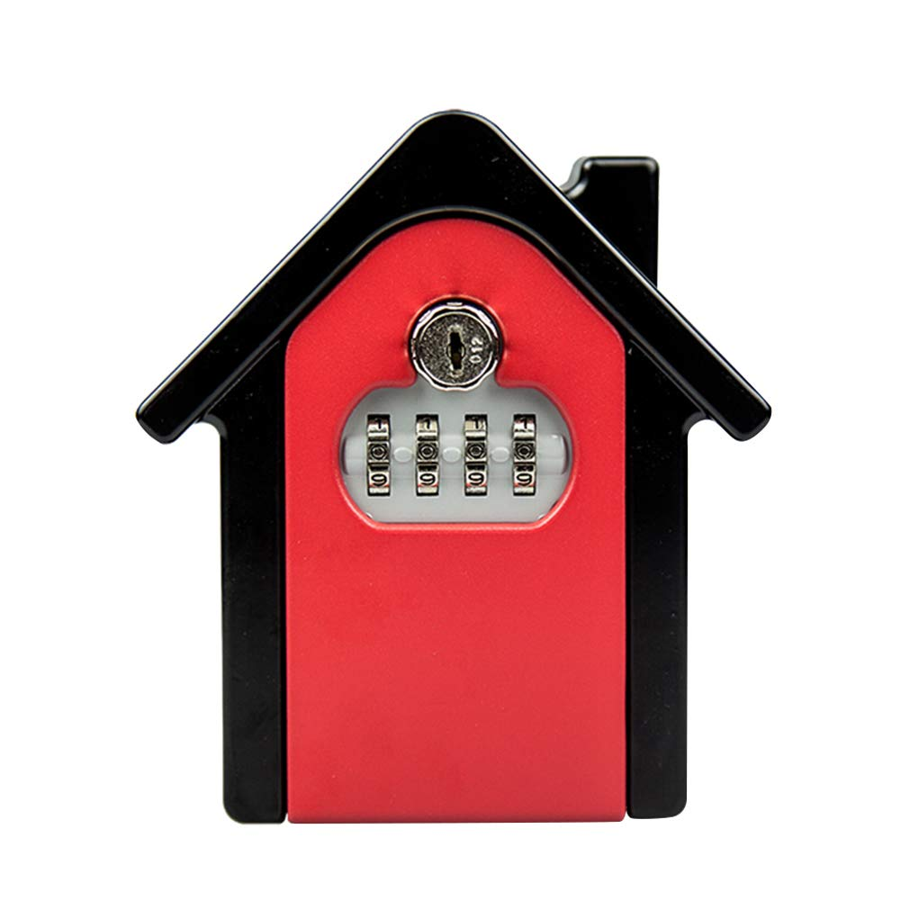 Fitlyiee Wall Mounted Key Storage Lock Box with 4-Digit Combination Lock Weatherproof Key Storage Box for House Indoor or Outdoor(Red)