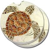 CounterArt Absorbent Stoneware Car Coaster, Sea Turtle, Set of 2