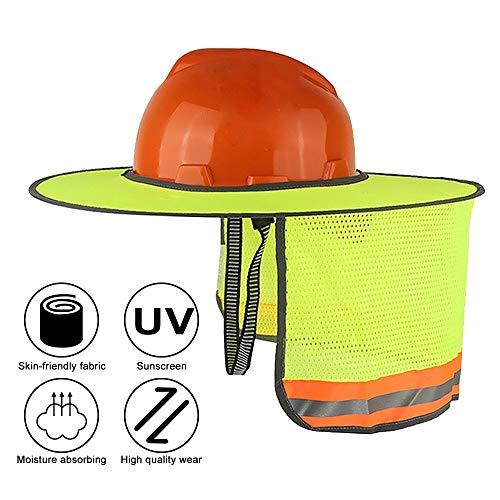 LOAZRE Hard Hat Sun Neck Shield, High Visibility Full Brim Sunshade, Mesh Design Full Brim Mesh Sun Shade Protector (Yellow)