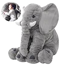 Scorpiuse Plush Elephant Pillow Large Stuffed Animal Pet Doll Toy Grey 24 Inch for Baby Toddler kids