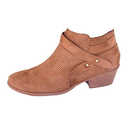 Logobeing Zapatos de Tacón Mujer Cuadrado con Hebilla Retro Botas Botines Mujer con Punta Cuadrada Altas Boots Plataforma (Gris, 35): Amazon.es: Equipaje