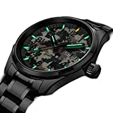WhatsWatch - Reloj de cuarzo para hombre T25 Tritium Luminescence Militar Táctico Acero Inoxidable Verde Luz Camuflaje Reloj