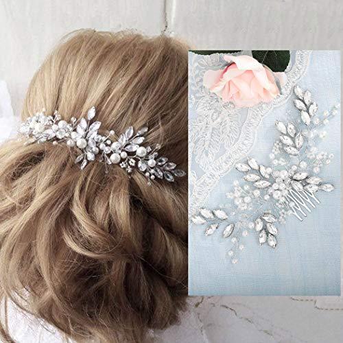 Barogirl Wedding Crystal Hair Comb Clip Bride Hair Piece Bridal Hair Accessories for Women (Bridal Hair Accessories For Half Up Half Down)