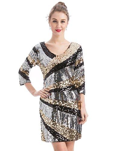 6e562985 MANER Women's 1920s Sequin Glitter V-Neck 3/4 Sleeve Bodycon Cocktail Party  Dress