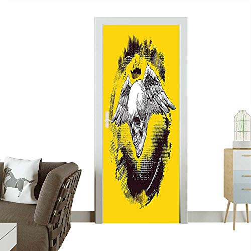 Homesonne 3D Door Decals The Death Angel Crowned Skull with Wide Magnificent Feather Wings Yellow Back and Self Adhesive Door DecalW31 x H79 INCH