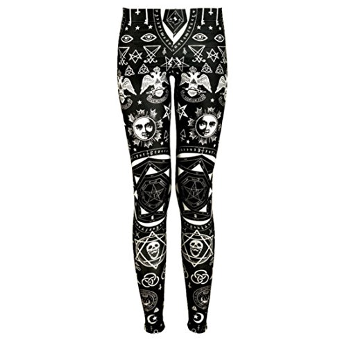 Women's 3D Dark Gothic Printed Push Up Full Length Leggings Black