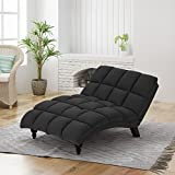 Tom Traditional Tufted Fabric Double Chaise, Dark Grey