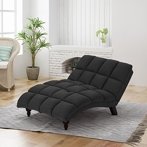 Great Deal Furniture 304715 Tom Traditional Tufted Fabric Double Chaise, Dark Grey, Espresso