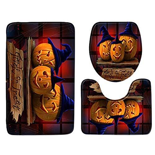 Boomboom Halloween Bathroom Decorations Non-Slip Pedestal Rug + Lid Toilet Cover + Bath Mat (C) -