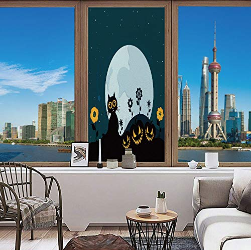 (YOLIYANA Environmental Protection Window Films Electrostatic Adsorption Halloween Decorations Cute Cat Moon on Floral Field with Starry Night Sky Star Cartoon Art for Living Room Office 48